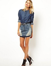 ASOS Mini Skirt in Ripped Denim