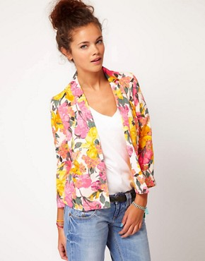 Image 1 ofRiver Island Floral Print Blazer