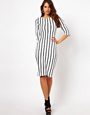 Motel Suni Midi Dress In Pinstripe