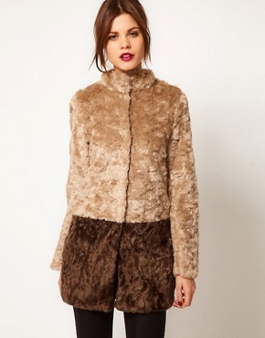 Image 1 ofWarehouse Block Faux Fur Coat