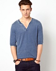 ASOS 3/4 Sleeve T-Shirt With Notch Neck And Burn Wash