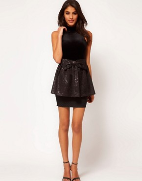Image 1 ofLashes Of London Peplum Mini Skirt with Jacquard Bow