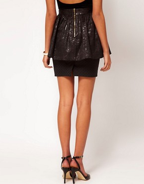 Image 2 ofLashes Of London Peplum Mini Skirt with Jacquard Bow