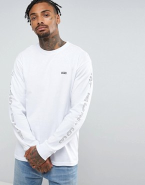 Vans OTW Arm Print Long Sleeve T-Shirt In White VA313LWHT