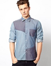 J Lindeberg Shirt With Patchwork Chambray