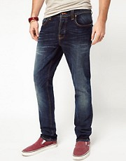 Nudie Jeans Grim Tim Slim Fit Crushed Denim