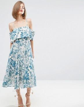 ASOS Cold Shoulder Midi Dress In Porcelain Print