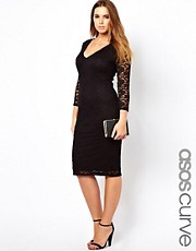 ASOS CURVE Bodycon Midi Dress In Lace