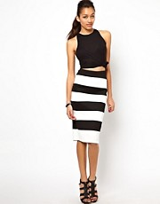 River Island Textured Stripe Pencil Skirt