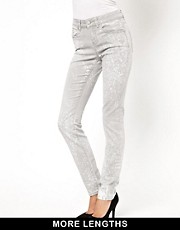 ASOS Elgin Supersoft Skinny Jeans in Soft Gray Acid Wash
