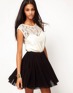 Image 1 ofASOS Contrast Skater Dress in Lace and Mesh