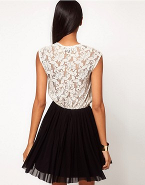 Image 2 ofASOS Contrast Skater Dress in Lace and Mesh