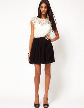 Image 4 ofASOS Contrast Skater Dress in Lace and Mesh