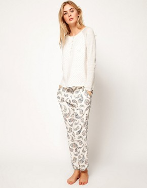 Image 1 ofOysho Floral Paisley Print Harem Lounge Pant