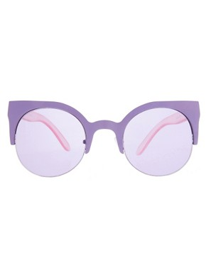 Image 2 ofASOS Metal Half Frame Cat Eye Sunglasses
