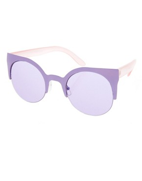 Image 1 ofASOS Metal Half Frame Cat Eye Sunglasses