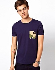 ASOS T-Shirt With Camo Print Pocket