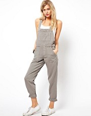 ASOS Coloured Denim Dungarees in Moon Rock Grey