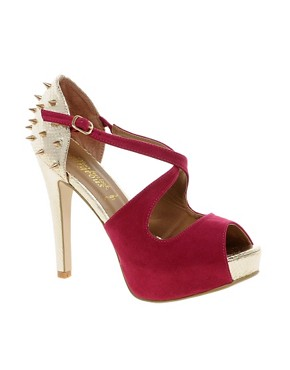Image 1 ofNew Look EC Ruthless Stud Back Pink Platform Shoes
