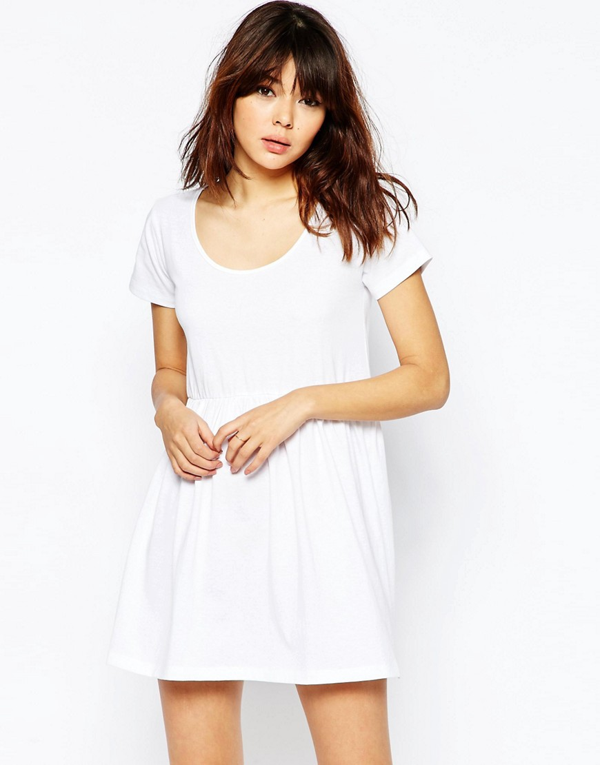 ASOS Smock Dress with Short Sleeve - White