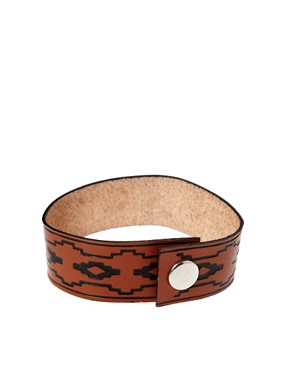 Image 2 ofASOS Stamped Leather Bracelet