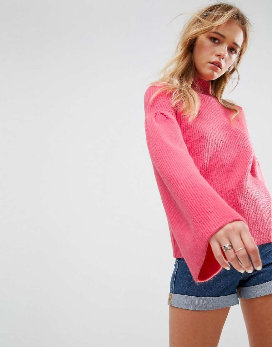 ASOS Jumper in Rib with High Neck and Flared Sleeves - Pink