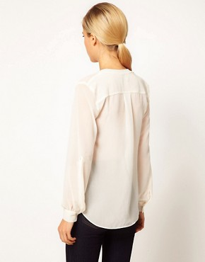 Image 2 ofASOS Blouse With Detail Front And Drop Neck