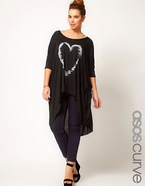 Image 1 ofASOS CURVE Exclusive Dip Back Top With Heart Feather