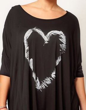 Image 3 ofASOS CURVE Exclusive Dip Back Top With Heart Feather