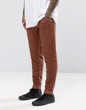 ASOS Skinny Joggers With Oil Wash In Rust