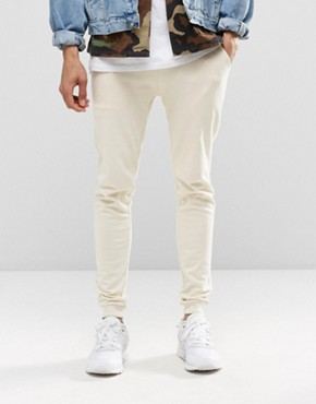 ASOS Super Skinny Joggers In Off White