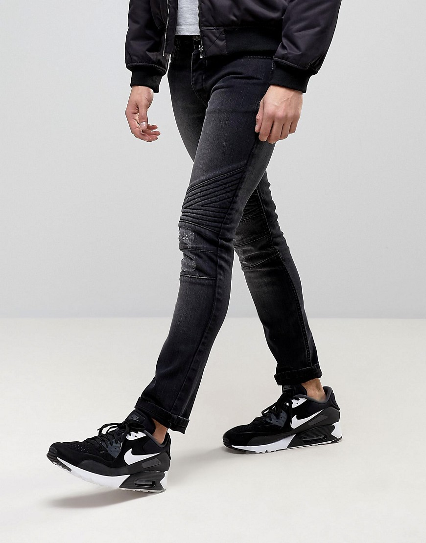 Loyalty and Faith Hayden Skinny Biker Jeans in Black - Black