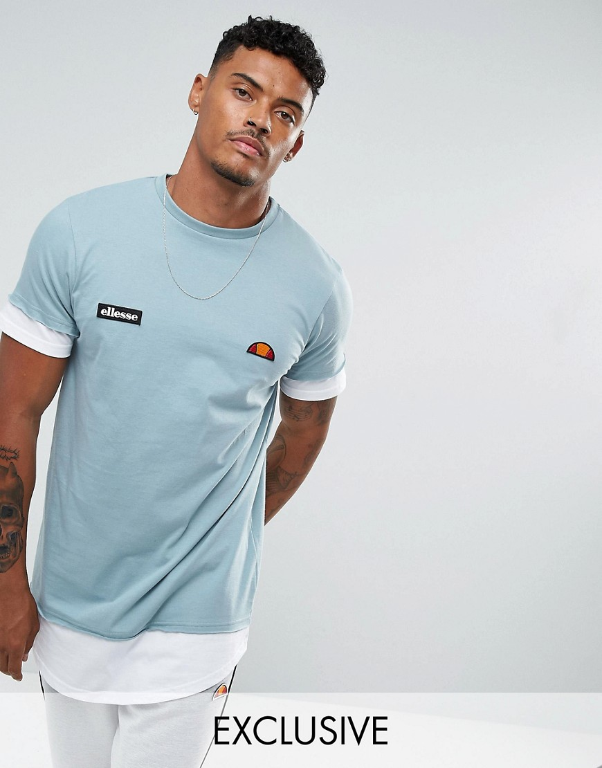 Ellesse Double Layer T-Shirt With Script Hem Logo In Blue - Blue