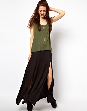 Image 1 ofASOS Silky Maxi Skirt with Double Split