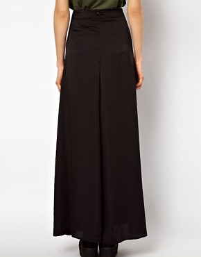 Image 2 ofASOS Silky Maxi Skirt with Double Split