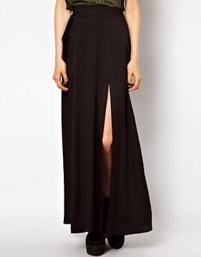 Image 4 ofASOS Silky Maxi Skirt with Double Split