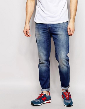 ASOS Tapered Jean With Paint And Abrasion Detail