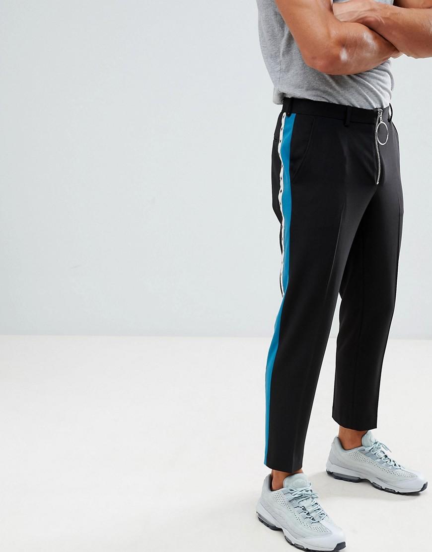Черные облегающие строгие брюки укороченного кроя с полосами и молнией ASOS DESIGN
