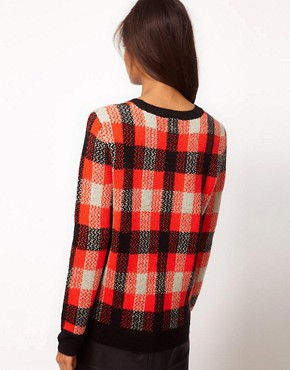 Image 2 ofASOS Check Knit Sweatshirt