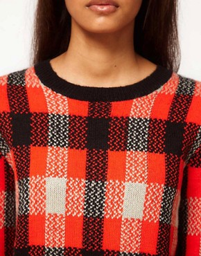 Image 3 ofASOS Check Knit Sweatshirt