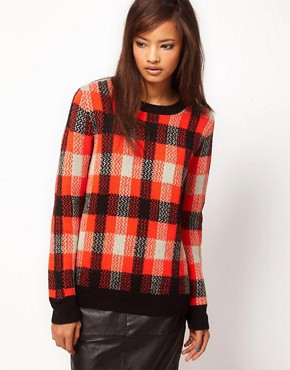 Image 1 ofASOS Check Knit Sweatshirt