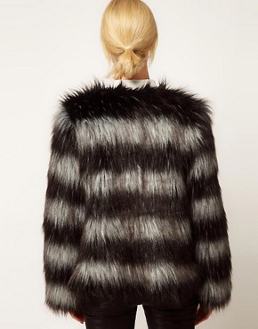 Image 2 of ASOS Stripe Collarless Fur Jacket