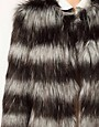 Image 3 ofASOS Stripe Collarless Fur Jacket