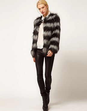Image 4 of ASOS Stripe Collarless Fur Jacket