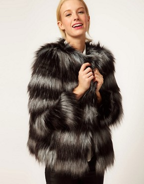 Image 1 of ASOS Stripe Collarless Fur Jacket
