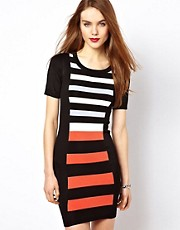 French Connection Striped Body-Conscious Dress