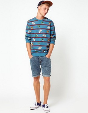 Image 4 ofASOS Sweatshirt With Stripe And All Over Print