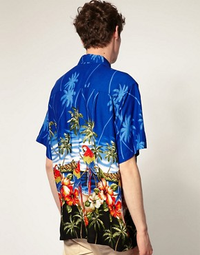 Image 2 of Karmakula Parrot Scene Blue Hawaiian Shirt