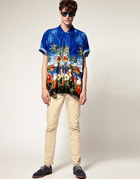 Image 4 of Karmakula Parrot Scene Blue Hawaiian Shirt