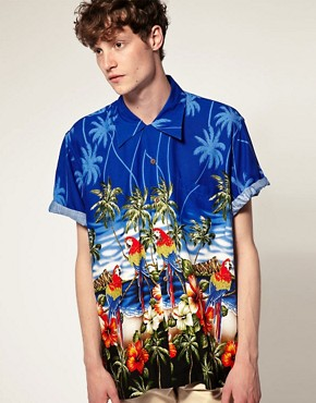 Image 1 of Karmakula Parrot Scene Blue Hawaiian Shirt